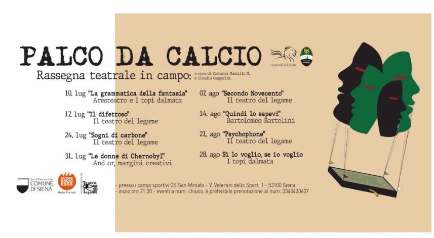 """Siena: Palco da Calcio, si apre la rassegna con """"La Grammatica della Fantasia"""" Venerdì 10Luglio"""