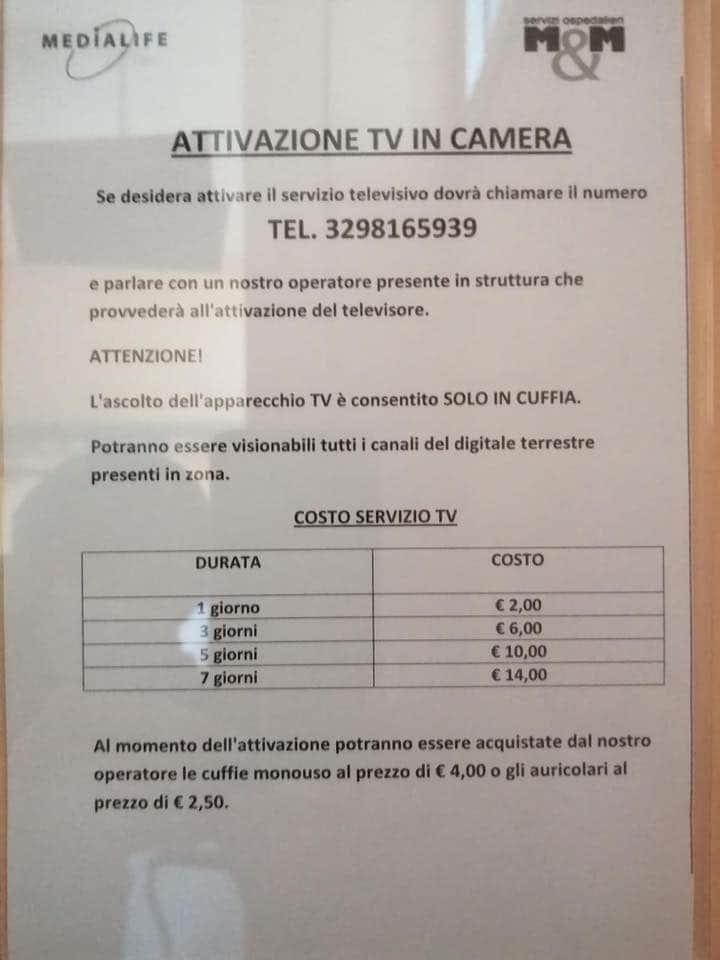 """Siena: Il servizio televisone all'Ospedale """"Le Scotte"""" è apagamento"""