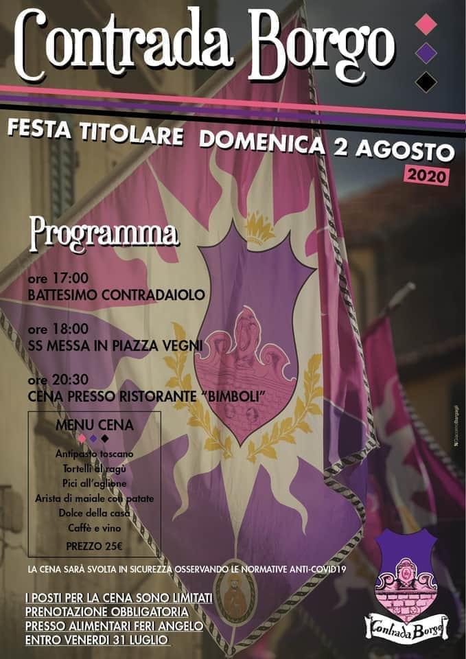 Palio di Caastel del Piano, Contrada Borgo: Oggi 02/08 Festa Titolare2020