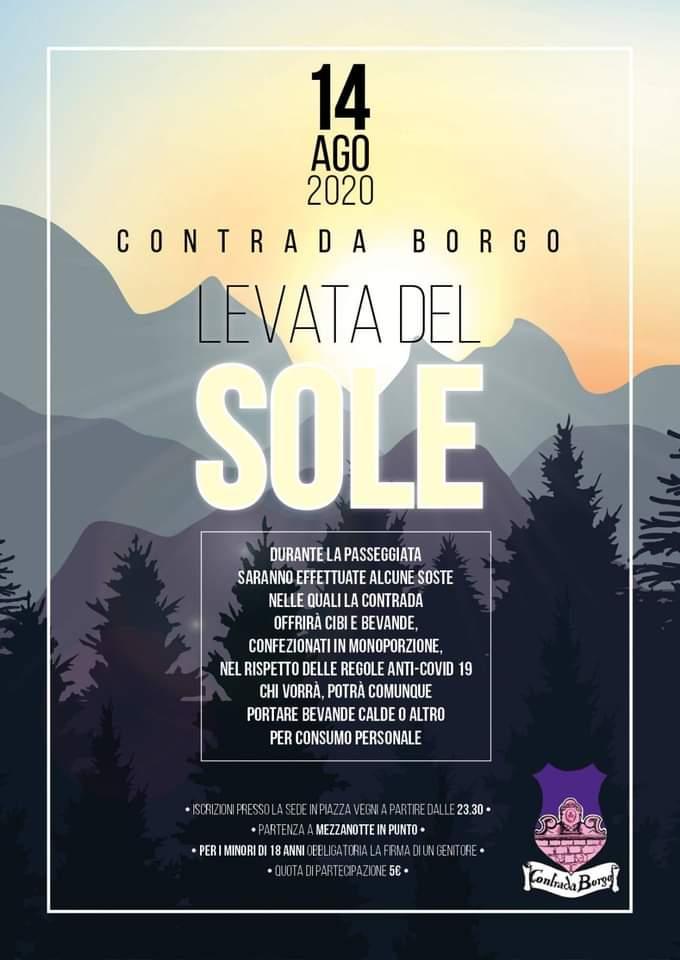 palio di Castel del Piano, Contrada Borgo: Oggi 14/08 Levata delSole