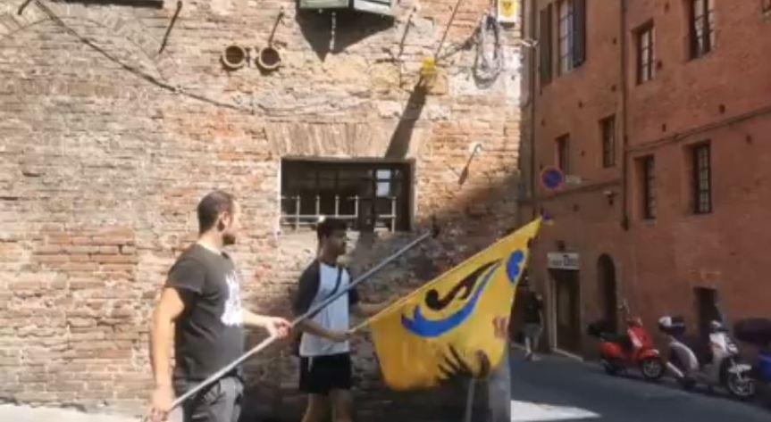 Siena: Contrada dell'Aquila: Oggi 14/08 Il Palio che non cè, giovani aquilini mettono le biandiere ai confini delRione