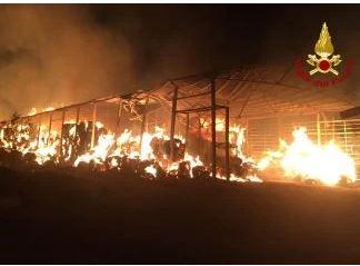 Toscana: Furioso incendio di rotoballe nellanotte