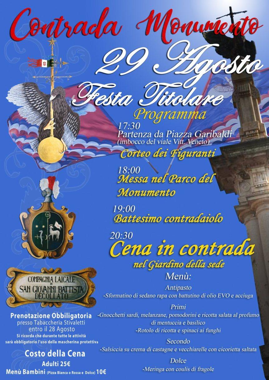Palio di Castel del Piano, Contrada Monumento: 29/08 Festa Titolare2020