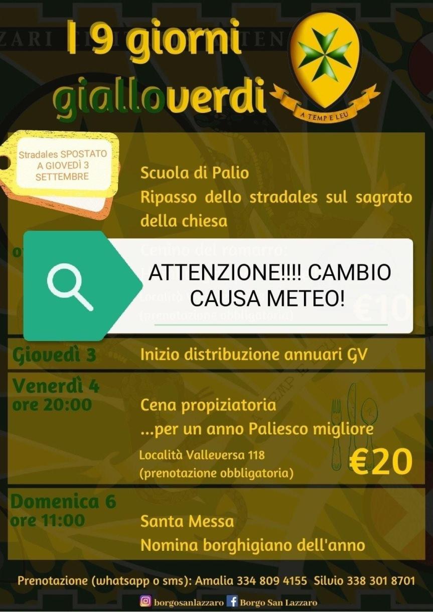 Palio di Asti, Comitato Palio Borgo San Lazzaro: Inizio eventi posticipato al03/09