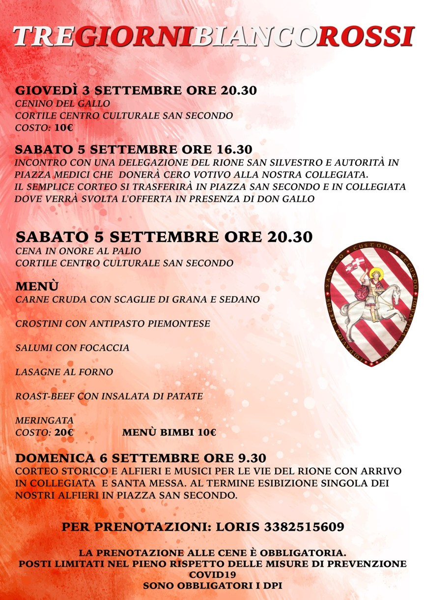 Palio di Asti, Comitato Palio Rione San Secondo: 03-05-06/09 Tre GiorniBiancorossi