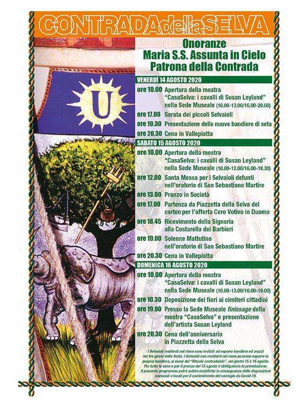 Siena, Contrada della Selva:  Programma della Festa titolare 2020  in onore della Patrona Maria Santissima Assunta inCielo