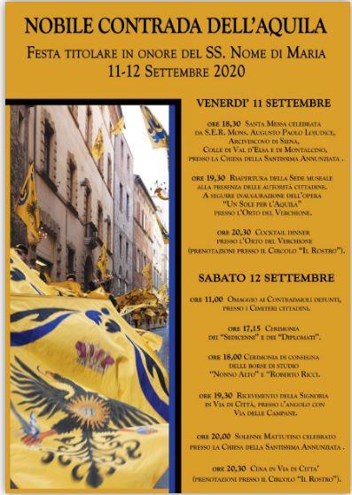 Siena, Contrada dell'Aquila: 11-12/09 Programma Festa Titolare2020