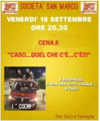 """Siena, Società San marco: 218/09 Cena all'Oliveta """"A caso…quel che c'è, c'è!"""""""