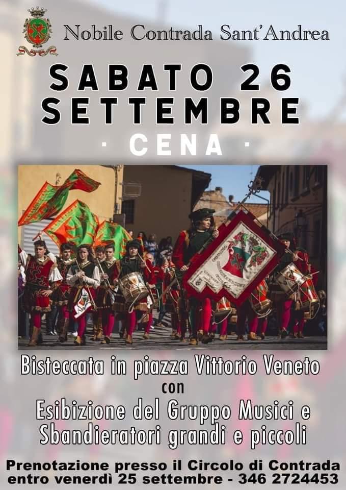 Palio di Fucecchio, Contrada Sant'Andrea: 26/09 Cena Bisteccata inPiazza