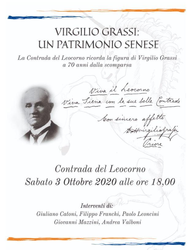 """Siena, Contrada del leocorno: 03/10 conferenza """"Virgilio Grassi, un patrimoniosenese"""""""