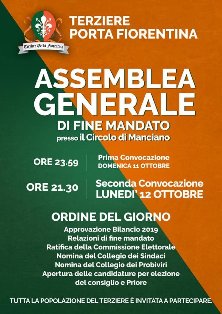 Palio di Castiglion Fiorentino, Terziere Porta Fiorentina: 12/10 Assemblea Geneerale di FineMandato