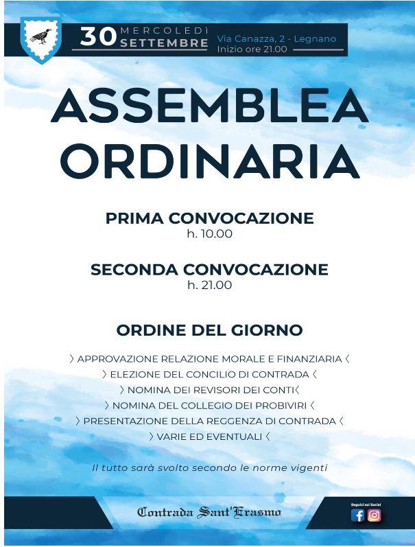 Palio di Legnano, Contrada Sant'Erasmo: 30/09 AssembleaOrdinaria