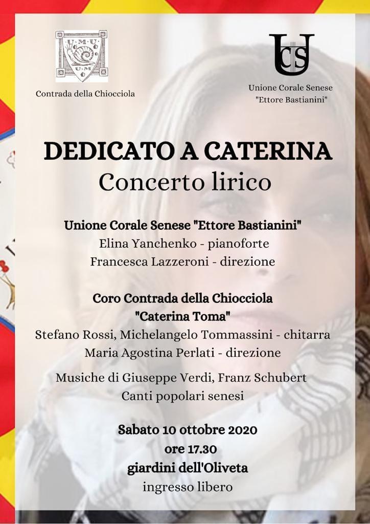 Siena, Contrada della Chiocciola: Oggi 10/10 Dedicato a Caterina –Programma
