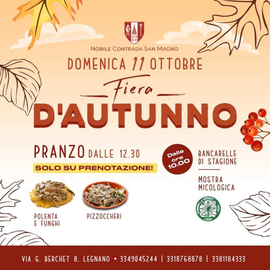 Palio di Legnano, Contrada San Magno: Domani 11/10 Fierad'Autunno