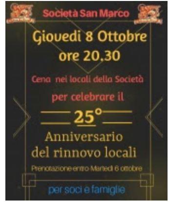 Siena, Società San Marco: 08/10 25° Anniversario dellaSocietà