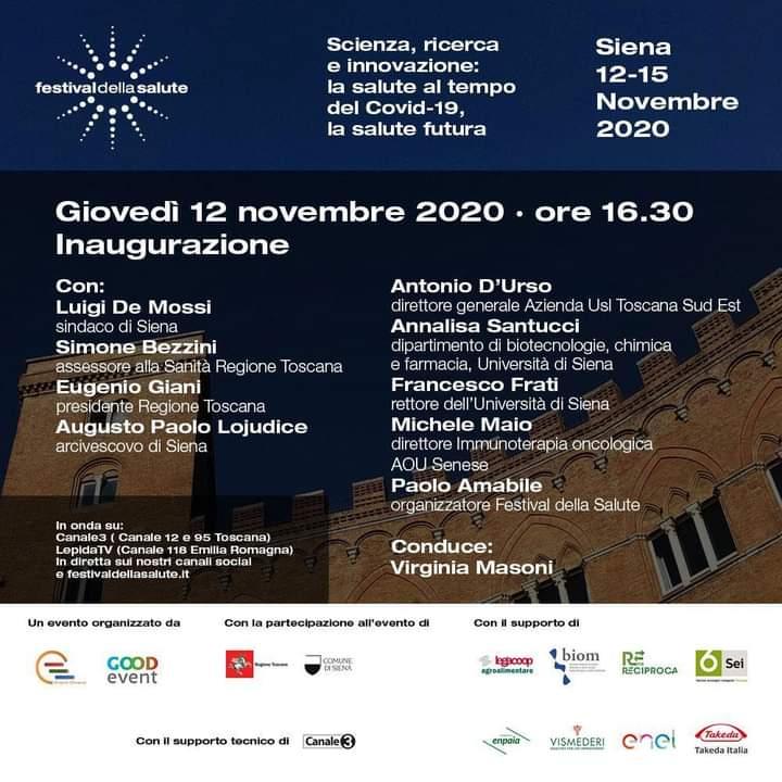Siena: Domani 12/11 prende il via il Festival dellaSalute