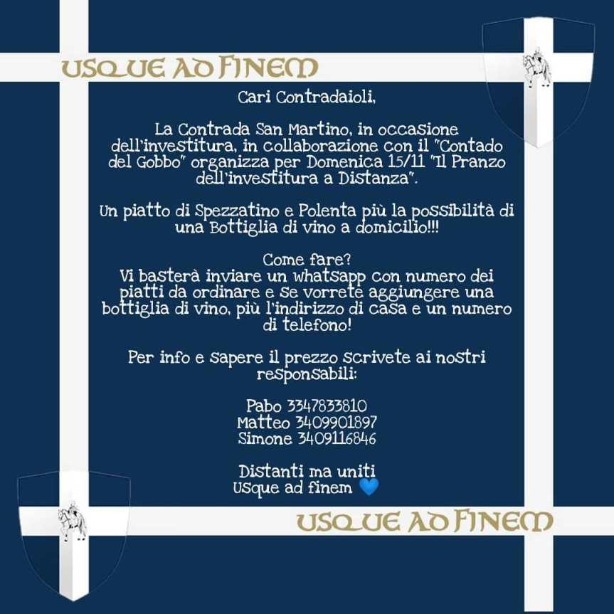 Palio di Legnano, Contrada San Martino: 15/11 Pranzo dell'Investitura adistanza