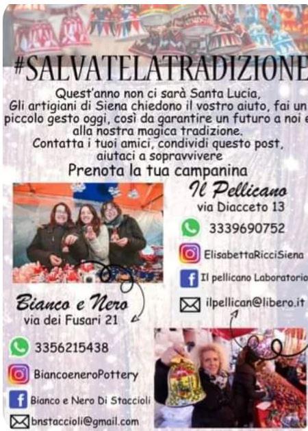 """Siena, Santa Lucia, gli artigiani senesi: """"Salvate la tradizione, prenotate lecampanine"""""""