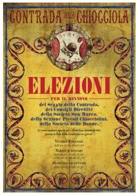 Siena, Contrada della Chiocciola: 08-09-10/01/2020 Elezioni Rinnovo Cariche diContrada