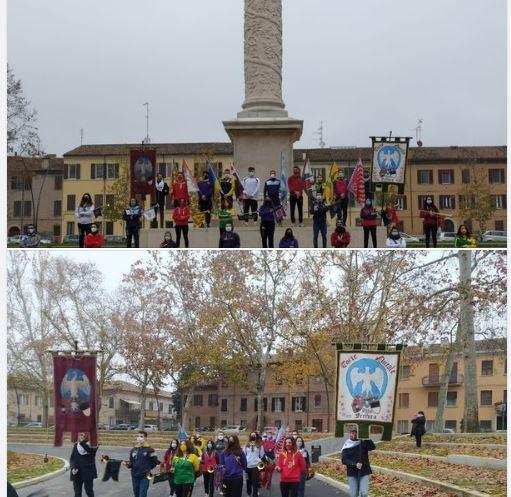 """Palio di Ferrara:  Una nutrita rappresentanza del """"Mondo Palio"""" si è radunata in Piazza Ariostea sabato12/12"""