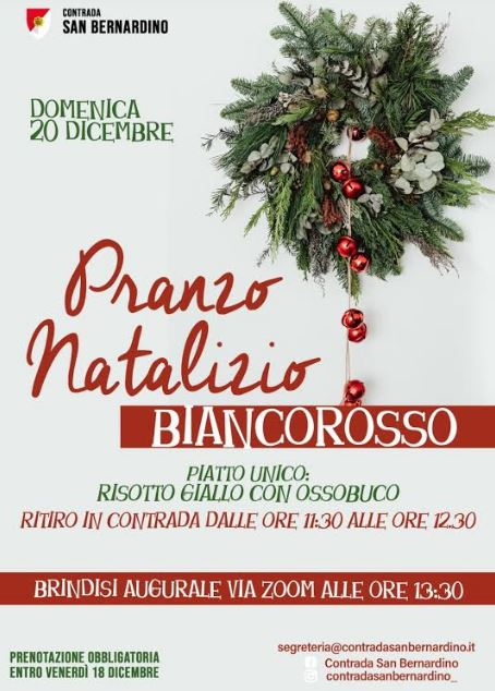 Palio di Legnano, Contrtada San Bernardino: Comunicato Stamap su Christmas Party On Line di ieri20/12