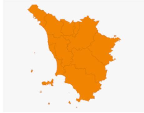 Toscana: Allarme varianti, il virus continua a crescere. Regione arancione macchiata di zonerosse