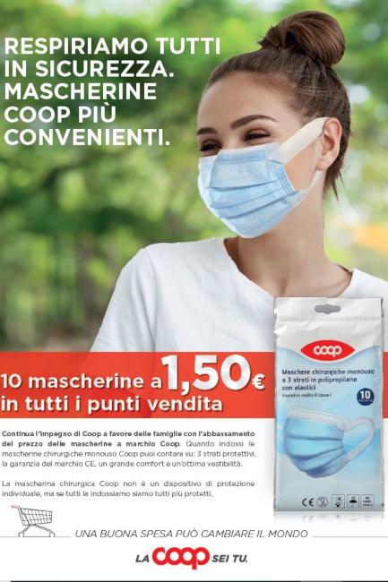 Toscana, Mascherine chirurgiche: Ulteriore ribasso del prezzo nei punti vendita Coop eSuperconti