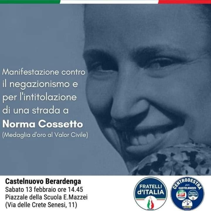 Provincia di Siena: Domani 13/02 a Castelnuovo intitolazione simbolica di una via a NormaCossetto