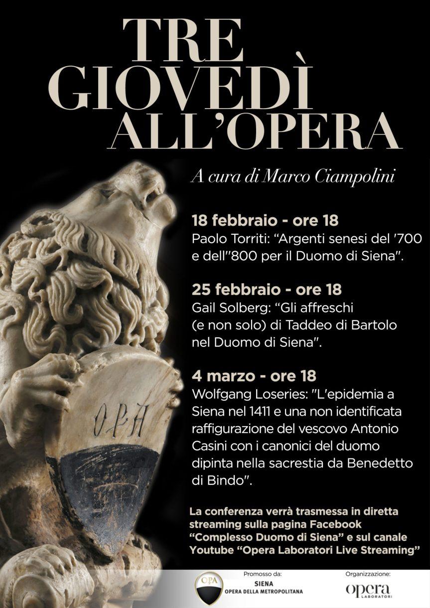 """Sienqa, """"Tre giovedì all'Opera"""". Il curatore Ciampolini: """"Alla scoperta di un patrimonio artisticoinedito"""""""