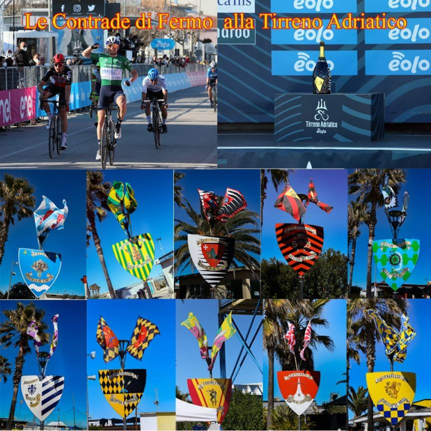 Cavalcata dell'Assunta Fermo: Ieri 15/03 bandiere e scudi delle Contrade hanno accolto i corridori della TirrenoAdriatico