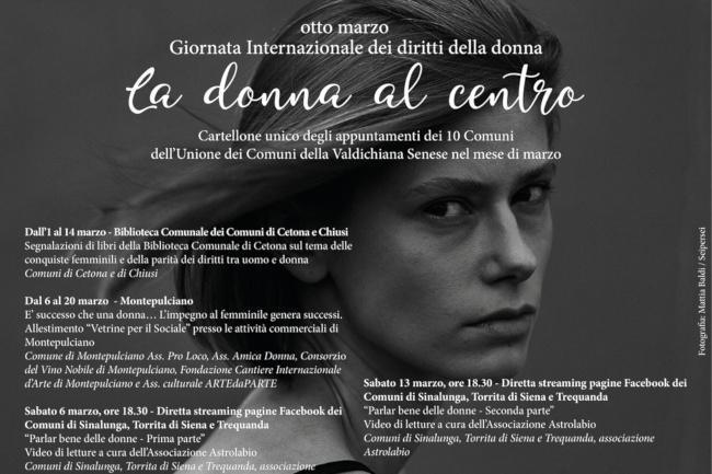 """Provincia di Siena: Proseguono gli appuntamenti del cartellone """"La Donna alcentro"""""""