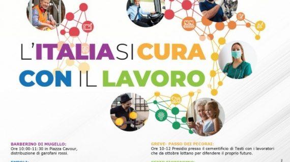 """Toscana, """"L'Italia si cura con il lavoro"""": I presidi di Cgil, Cisl e Uil per il PrimoMaggio"""