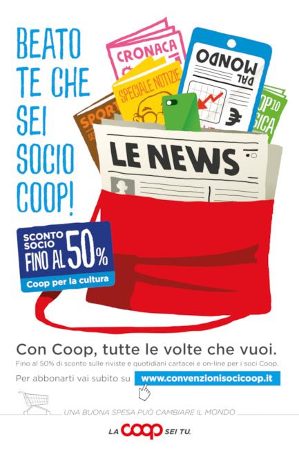 Siena: COOP per la cultura, abbonamenti a prezzi scontati (fino al 50%) per 20 tra i più autorevoli quotidiani e periodiciitaliani