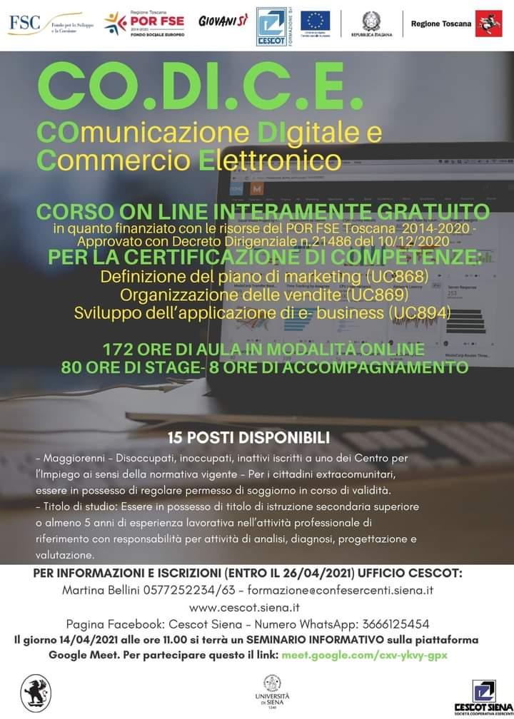 """Siena: Cescot Siena lancia il Corso """"Comunicazione Digitalee Commercio Elettrico"""""""