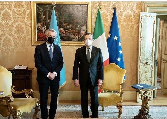 Italia: Il Presidente Draghi incontra l'Alto Commissario ONU per i Rifugiati FilippoGrandi