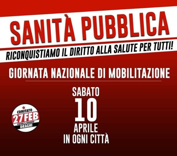 """Siena: """"Riconquistiamo il diritto alla salute di tutti"""" arriva in Piazza Gramsci il 10aprile"""