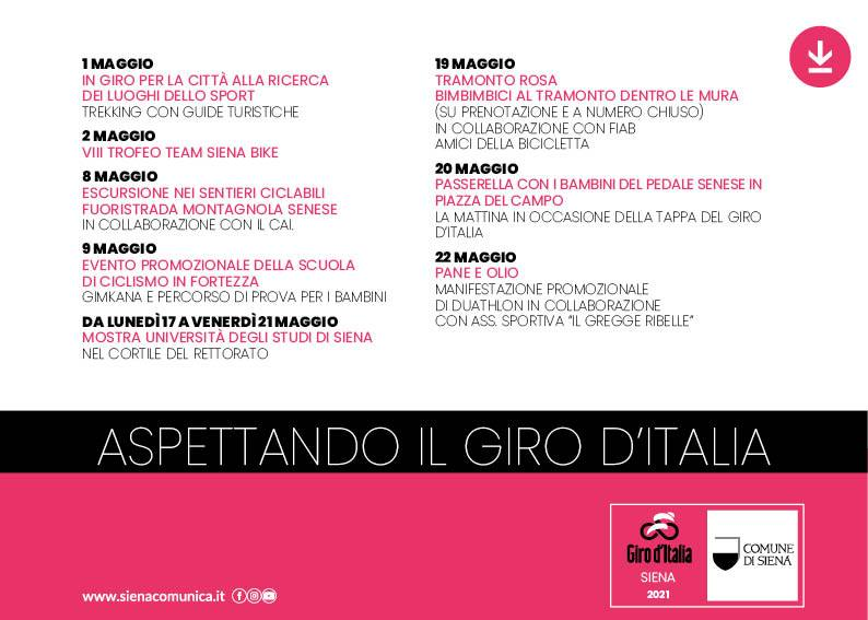 """Siena, """"Aspettando il giro d'Italia"""": Il 1° e il 2 maggio i primi appuntamenti nella nostracittà"""