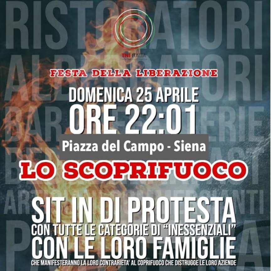 """Siena, """"Scoprifuoco"""": Domani 25/04 alcuni ristoratori senesi scendono in piazza con un sit in dopo le22"""