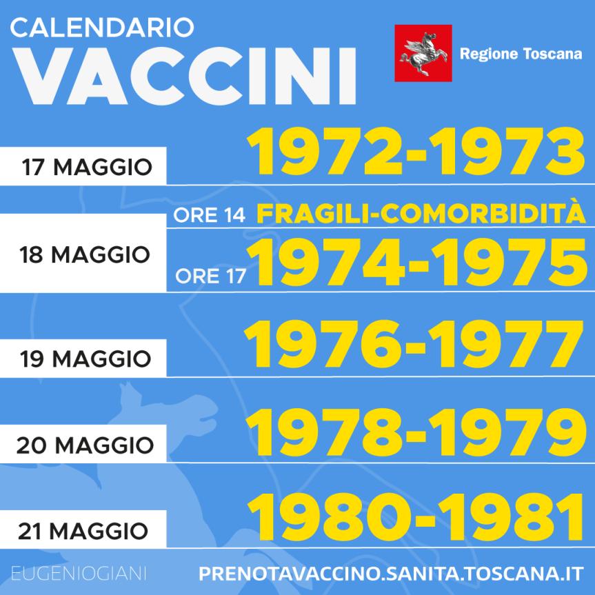 Toscana: Ecco il calendario per la prenotazione dei vaccini pr gli ovedr 40 dal 17/05 al21/05