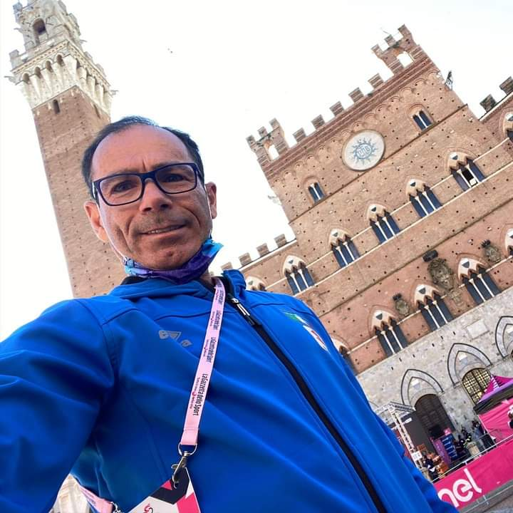 """Siena, Il Ct della nazionale di ciclismo Davide Cassani: """"Piazza del Campo, bellezza stupenda""""Di"""
