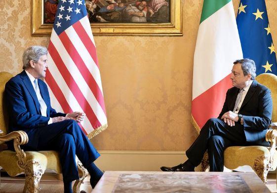 Italia: Draghi incontra l'Inviato Speciale del Presidente USA per il Clima, JohnKerry