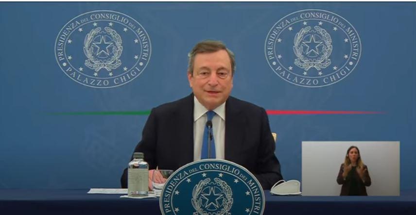 Italia: Conferenza stampa del Presidente Draghi con i Ministri Franco eOrlando