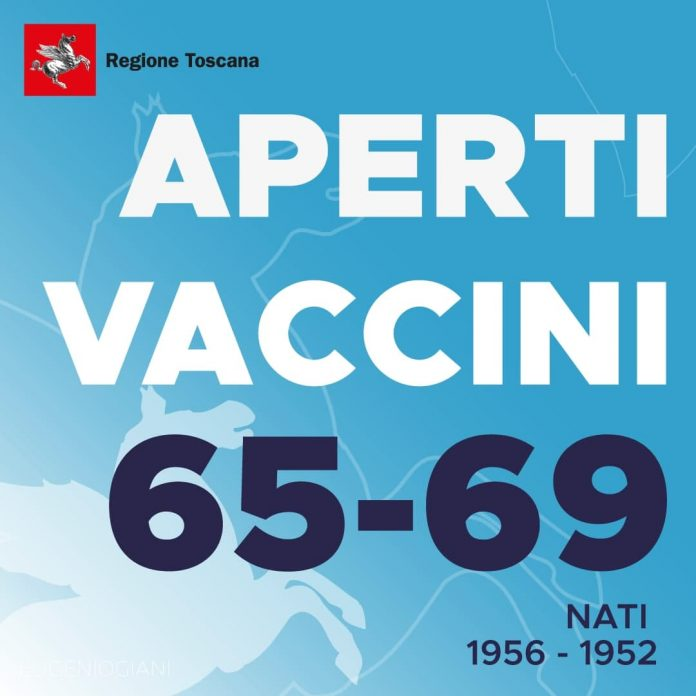 Toscana: Vaccini per 65-69enni, effettuate già quasi 40mila prenotazioni. Agende ancoraaperte