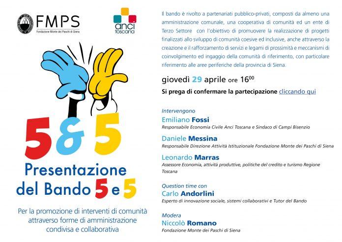 Siena: Fondazione Mps e Anci Toscana insieme con il bando'5&5'