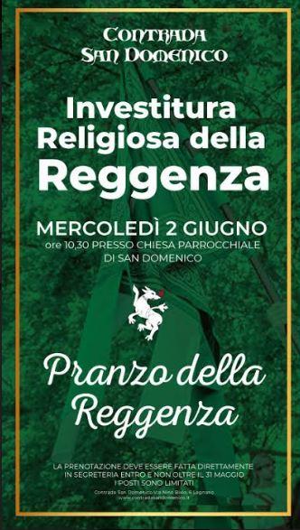 Palio di Legnano, Contada San Domenico: 02/06 Investitura Religiosa della Reggenza e Pranzo dellaReggenza