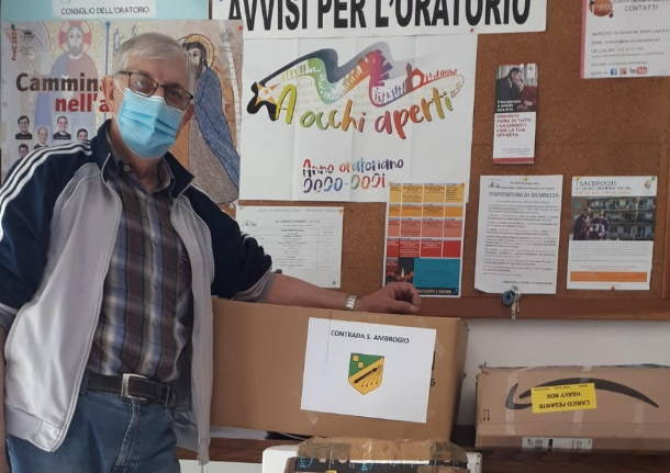Palio di Legnano, Contrada Sant'Ambrogio: Alla Parrocchia S.Pietro di Legnano la nuova raccolta di generi alimentari dellaContrada