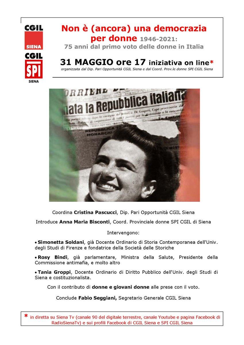 Siena, Cgil : Lunedì 31 iniziativa online per il 75esimo anniversario del primo voto femminile inItalia