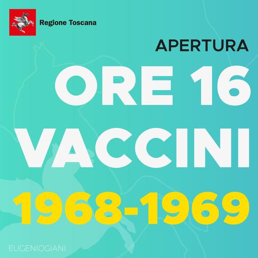 Toscana: Vaccini per i nati nel 1968 e 1969, agende aperte dalle 16 di oggi 14maggio