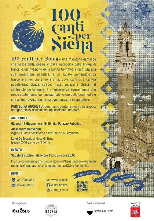 Siena: Oggi 17/06 100 canti per Siena, la dedica aDante