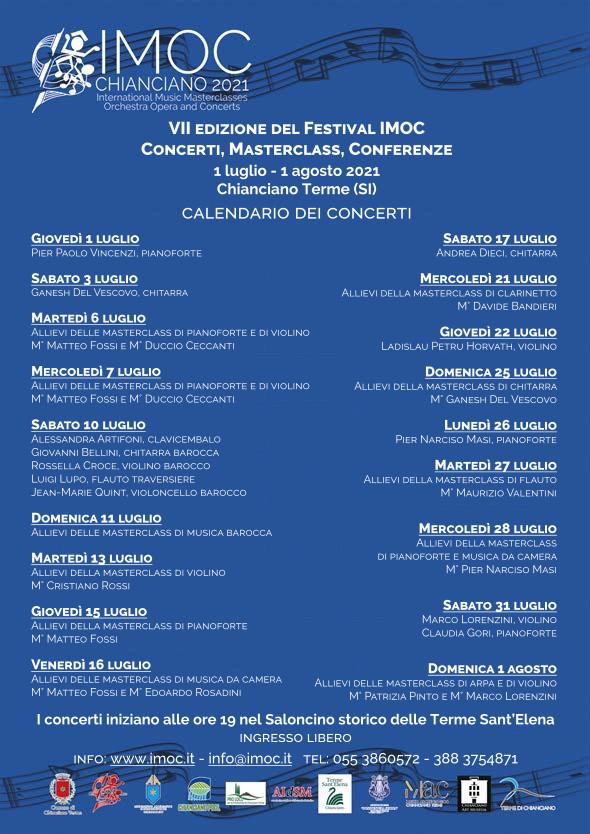 Provincia di Siena: Nella seconda settimana del Festival Imoc alle Terme di Sant'Elena è di casa la musicabarocca